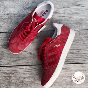 Adidas Red Gazelle Scale Suede Sneakers NWT
